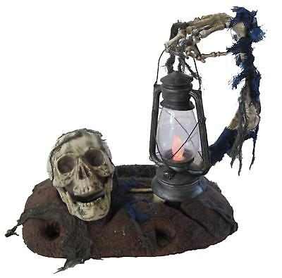 LIGHTED Ground Breaker with Lantern OUTDOOR HALLOWEEN DECORATION PROP GRAVEYARD