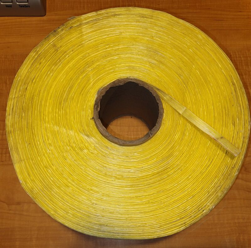 "1 Roll Spool 3/8"" Poly Polypropylene Strapping Yellow 2 7/8"" Core 11 3/4"" Dia"