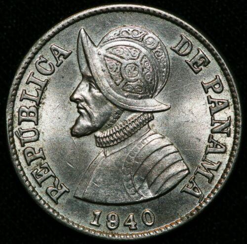 1940 Panama 2 1/2 Centesimos Silver Coin Great Luster