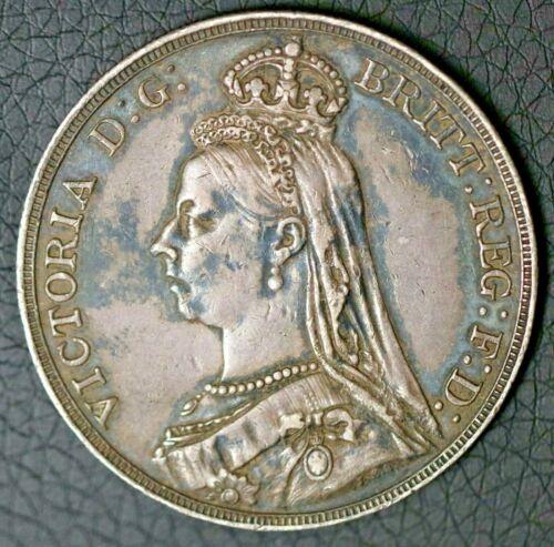 1892 British 1 Crown Victoria 2nd Portrait United Kingdom Sterling Silver Coin