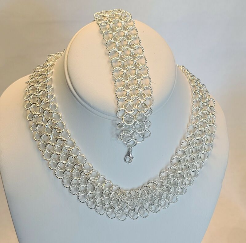 Unsigned Vintage Style Silver Tone Linked Choker Necklace & Bracelet