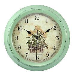 Large metal wall clock duck egg green for indoor outdoor garden