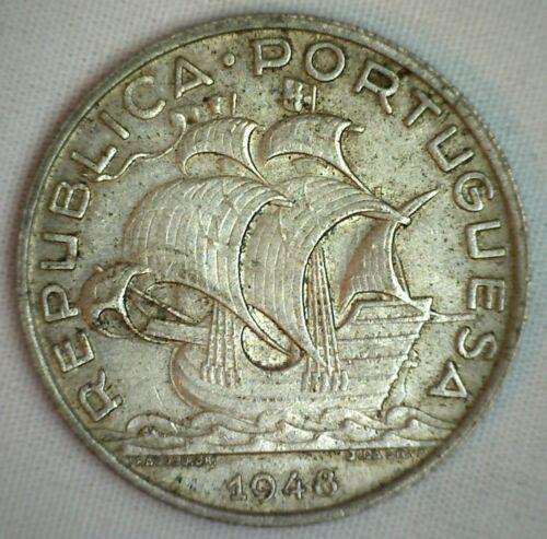 1948 Portugal Silver 10 Escudos Coin Almost Uncirculated AU