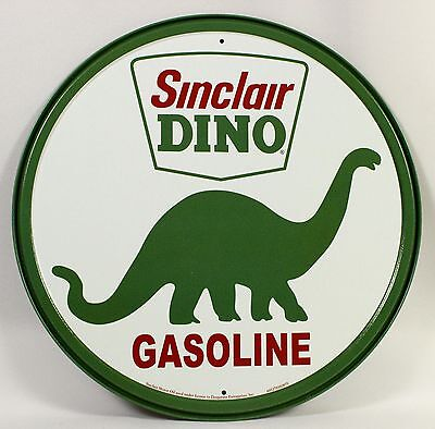 SINCLAIR DINO GASOLINE ROUND METAL SIGN Reproducation Oil Ad Logo USA Dinosaur
