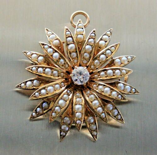 "1.25 "" Antique .30ct Diamond Seed Pearl Sunburst 14k Gold Pin -Brooch -Pendant"