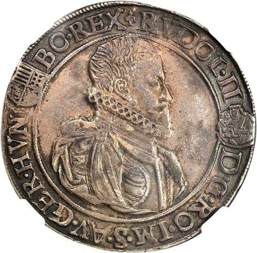 1583 KB HUNGARY RUDOLPH II SILVER TALER NGC AU-50 L@@K