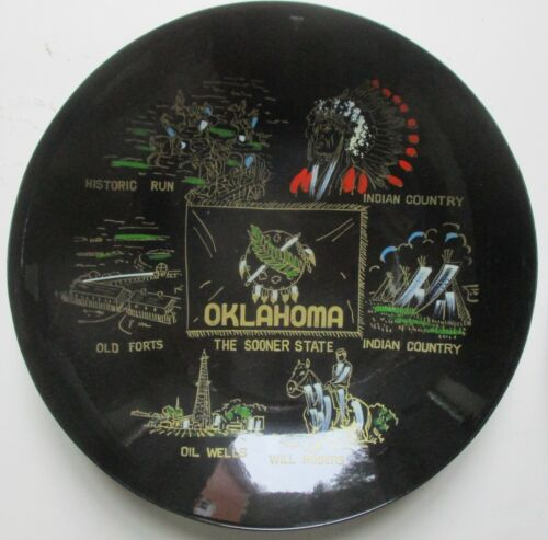 Vintage Painted Souvenir Bowl  OKLAHOMA - Will Rogers - Forts - History