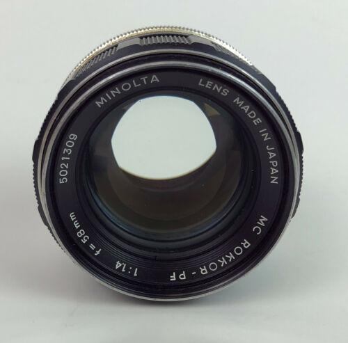 vintage MINOLTA MC ROKKOR PF 58mm f1.4 MANUAL FOCUS LENS