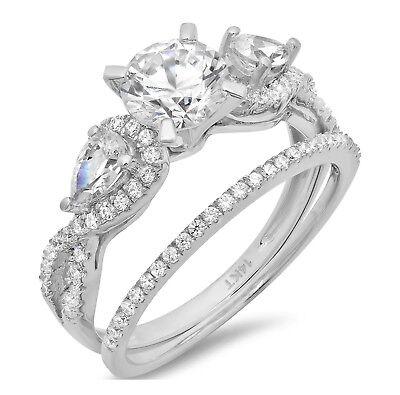 1.9ct Round Cut Bridal Engagement Wedding Ring Band Set 1...
