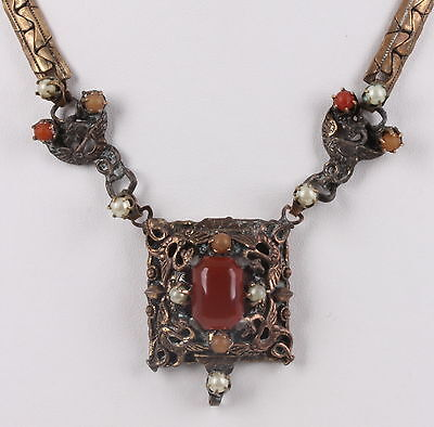 ROSE GOLD & GOLDTONE ANTIQUE BALTIC PEARL AMBER STONES NECKLACE FASHION 5656