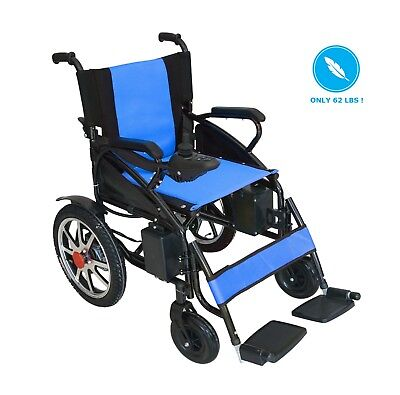Fold-able Lightweight Heavy Duty Lithium Battery Electric Power Wheelchair BLUE