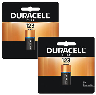 2 Duracell Lithium 3V DL123A CR123A CR 123A 123 Batteries Exp. 2027, used for sale  Brooklyn