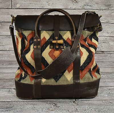 Ralph Lauren RRL Vintage Leather Wool Indian Blanket Serape Overnight Bag New