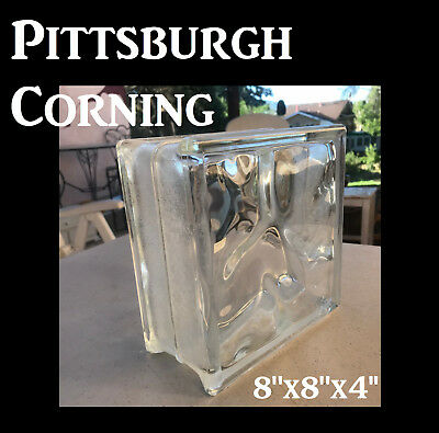 NEW (1) Pittsburgh Corning Decora Glass Block 8x8x4 Clear Waves w/ Frosted Edges