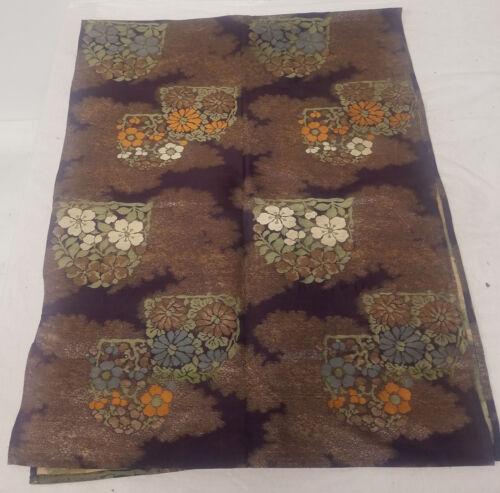 Antique Vintage Japanese Fine Silk Embroidered Kimono Obi Panel Floral