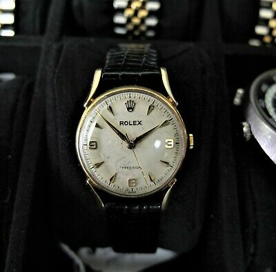 Rolex Precision 9kt solid gold manual wind explorer dial w/ bombay lugs - rare