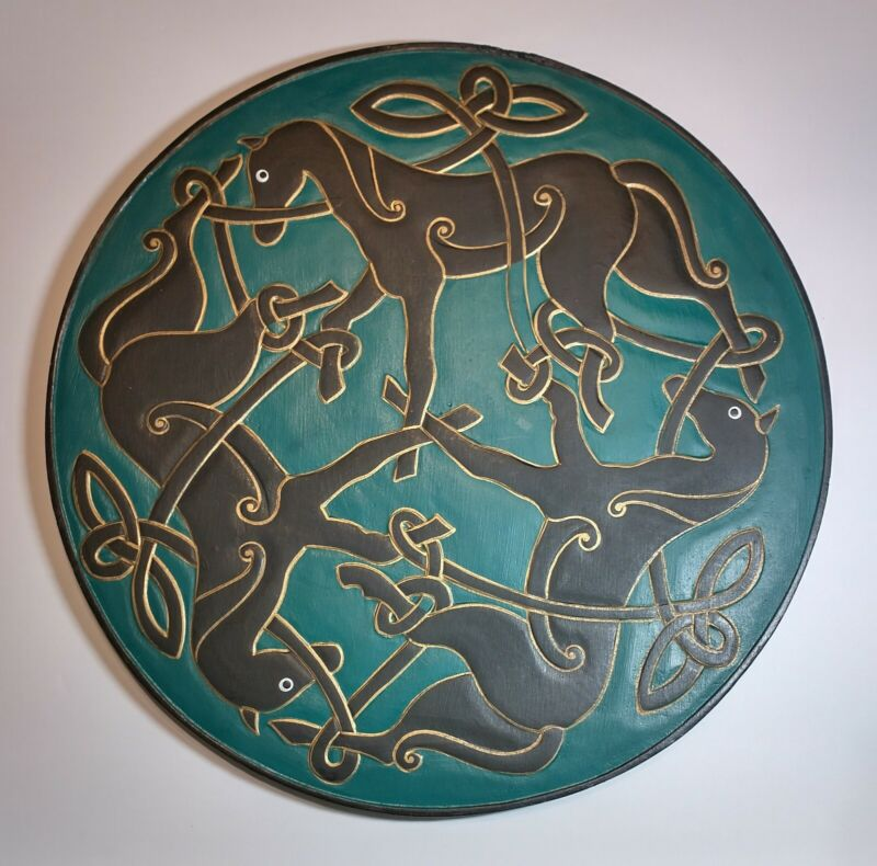 Celtic Horse Embossed Wood Wall Art 16 in. Green, Black & Gold