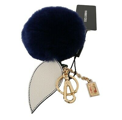 DOLCE & GABBANA Keychain White Leather Blue Fur Gold Clasp Keyring RRP $400