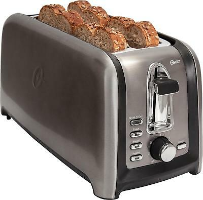 Oster - 4-Slice Adventitious-Long-Slot Toaster - Stainless Steel/Black