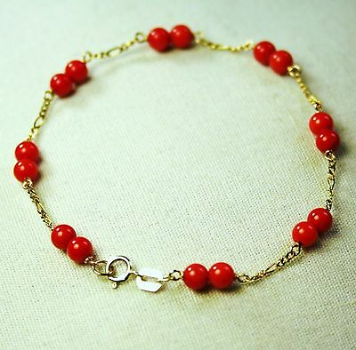 14k solid yellow gold lightweght natural Red Coral bracelet 8 inches long