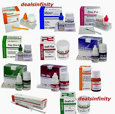 Dental Permanent Tooth White Filling Cement Mega Kit Self Cure Glass Ionomer