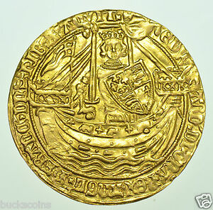EDWARD-III-NOBLE-1369-77-mm-CROSS-POTENTS-BRITISH-HAMMERED-GOLD-COIN-EF