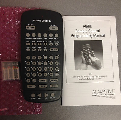 Brand New 63407203 Adaptive Micro Systems Alpha Remote Control Ledsigns   Manual