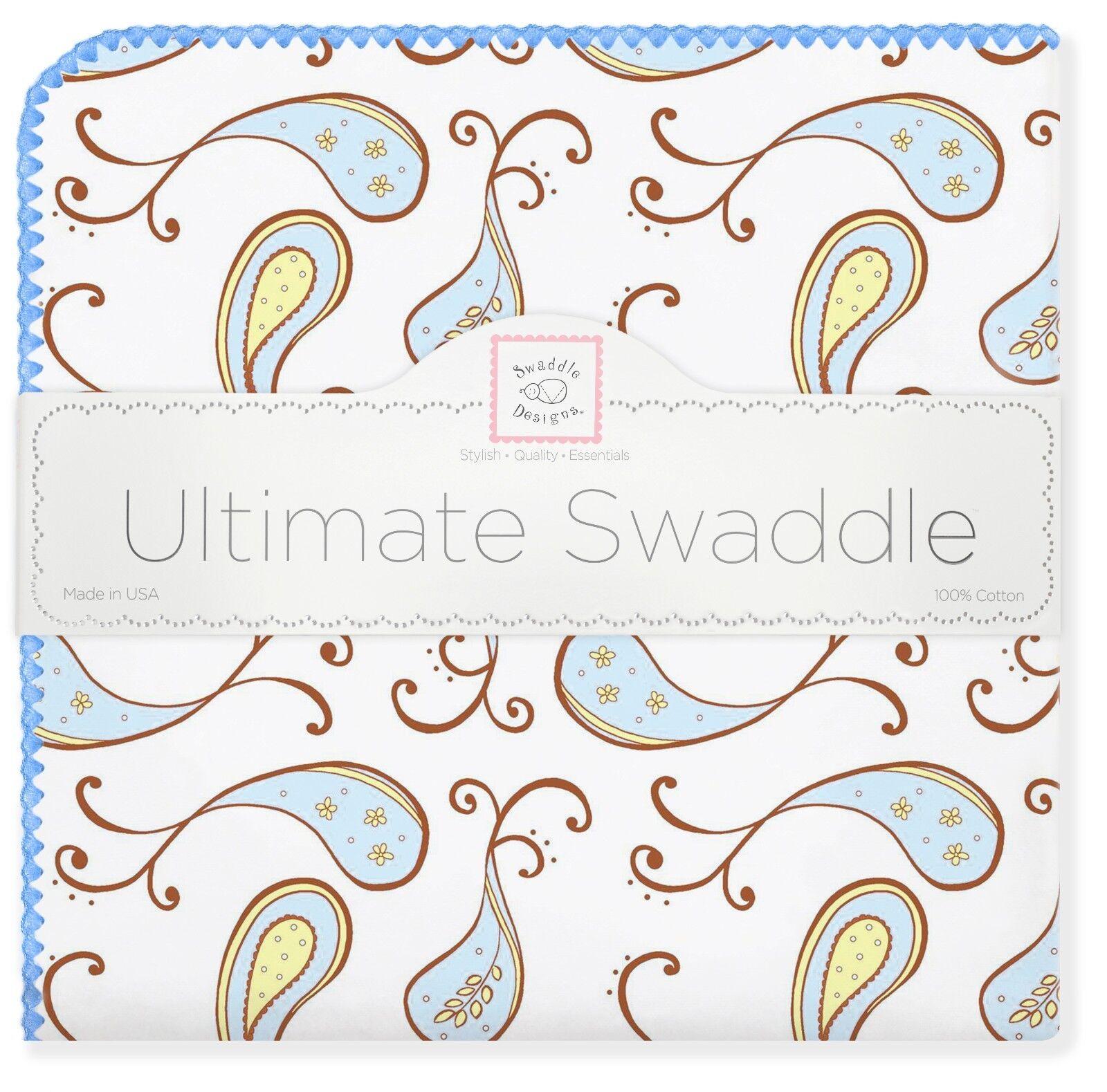 SwaddleDesigns Ultimate Swaddle Flannel Blanket Blue Paisley
