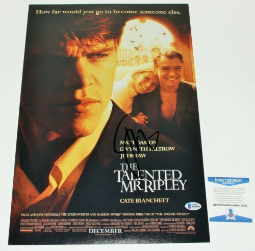 JUDE LAW SIGNED 'THE TALENTED MR. RIPLEY' 12x18 MOVIE POSTER BECKETT COA PROOF