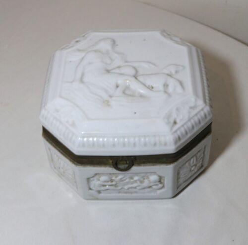 LARGE antique porcelain figural dresser vanity relief casket jewelry box jar