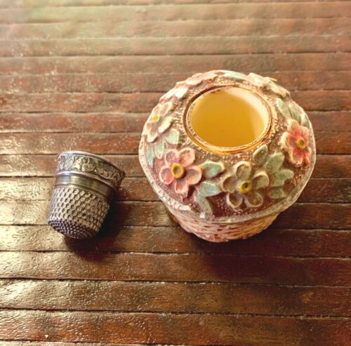 Antique Celluloid Figural Flower Basket Thimble Holder & Sterling Silver Thimble
