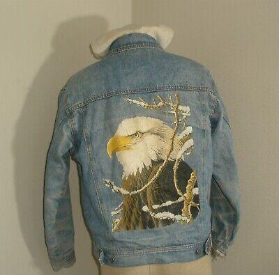 Vintage 80s 90s Distressed BALD EAGLE Wildlife Denim Blue Jean Hoodie Jacket Med
