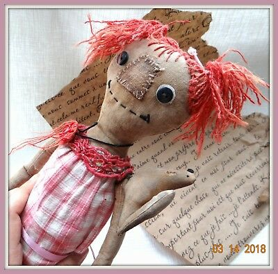 Halloween Vintage Primitive Country Folk Art Doll with dove Handmade Halloween
