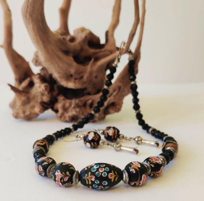 Rare Antique Venetian Ambassador Trade Bead Necklace And Earrings C 1880