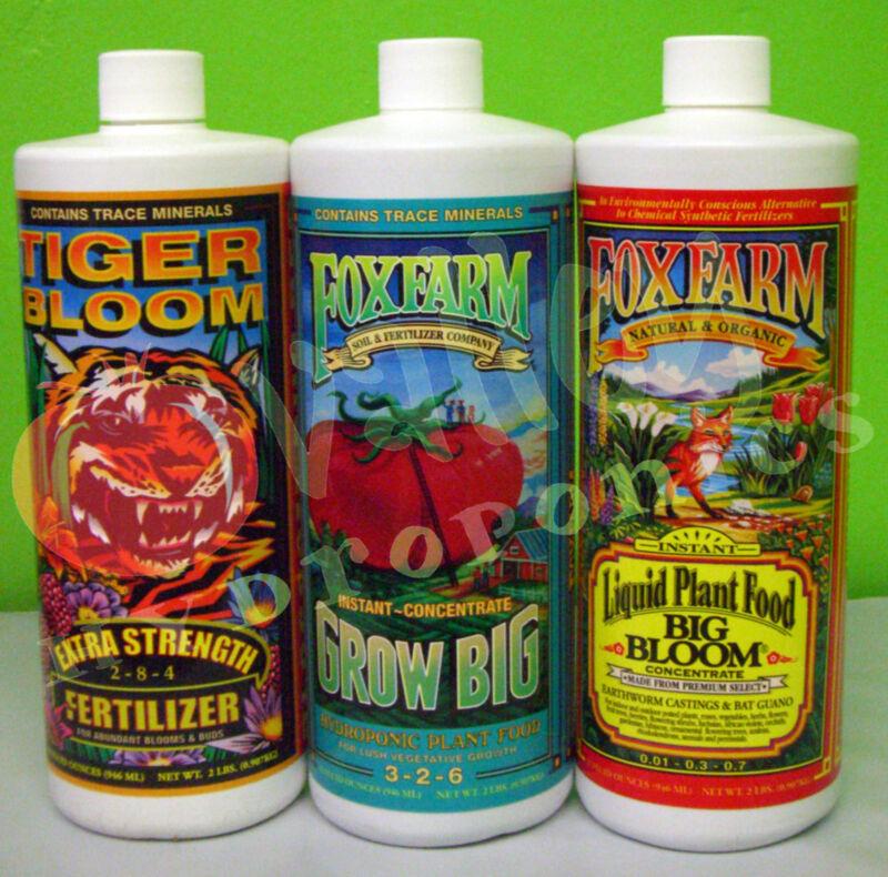 FoxFarm GROW BIG, TIGER BLOOM, BIG BLOOM, SOIL or HYDRO TRIO PT QT GAL Fox Farm