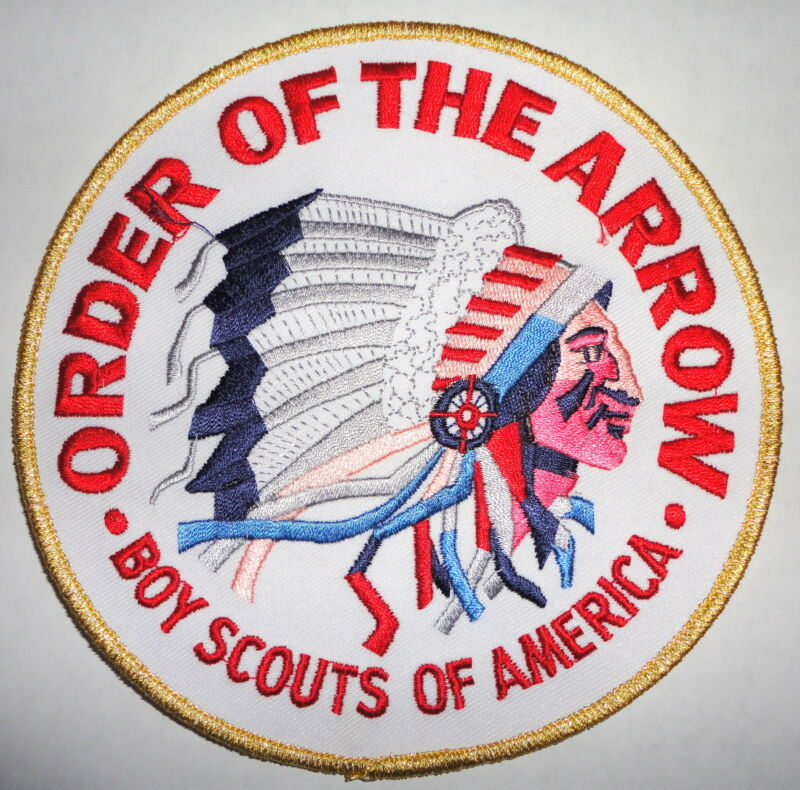 "Order of the Arrow Gold/White 6"" OA Jacket Patch - Boy Scouts of America"