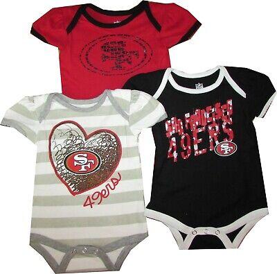 San Francisco 49ers 3pc GIRLS Creeper Bodysuit Set Infant Baby team -