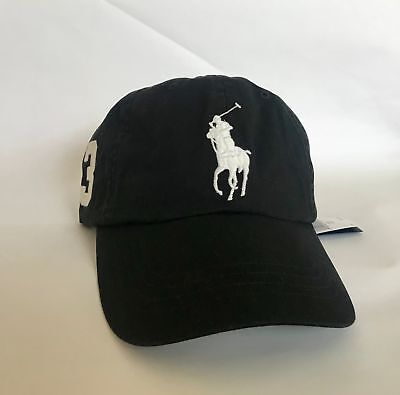 Polo Ralph Lauren Big Pony w/ Leather Strap Baseball Cap Hat in Polo Black - NEW