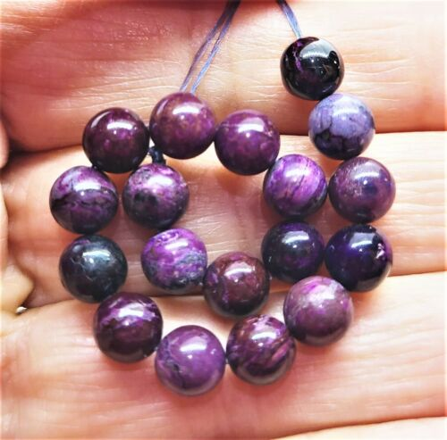"""AFRICAN PURPLE SUGILITE ROUND BEADS 6mm 29.5cts NATURAL UNTREATED 4.25"""" STRAND"""