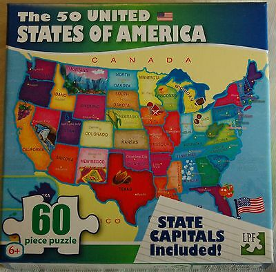 50 USA United States of America Map Puzzle w/ State Capitals 60 pc Learning - Puzzles Usa