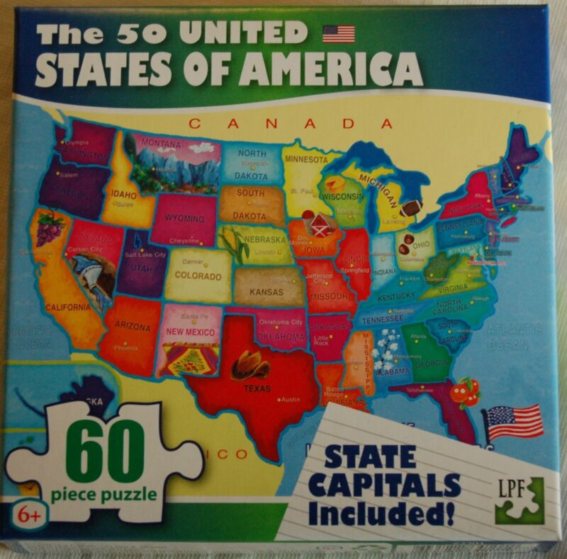 50 USA United States of America Map Puzzle w/ State Capitals 60 pc ...