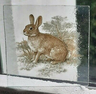 Stained Glass - Rabbit SMALL pane Kiln fired piece 9 cm x 8.5 cm APPROX