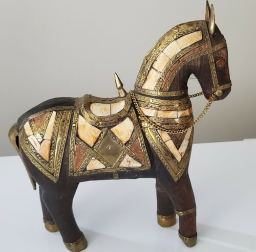 1950s Wooden War Horse Figurine 💗 Embellished in Pounded Copper and Brass