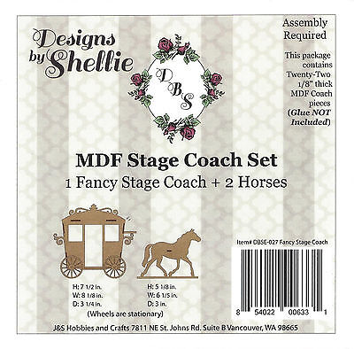 DESIGNS BY SHELLIE- MDF FANCY STAGE COACH AND HORSES KIT