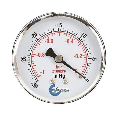 2-12 Vacuum Gauge - Chrome Plated Steel Case 14npt Back Mnt. -30 Inhg0