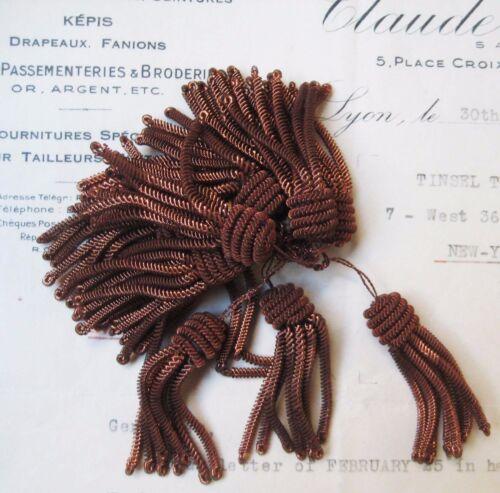 "2  Vintage/Antique French Copper Metallic Bullion Tiny 1 5/8"" Tassel Fringe"