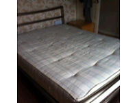 King Size Polished Steel Bed with Mattress