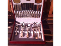 Viners 44 piece (serves 6) guilded silver canteen of cutlery - new never used.
