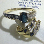 Sapphire and diamond 9kt gold earrings and ring set - new Windsor Region Ontario image 1