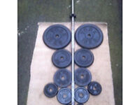 41kg CAST IRON WEIGHTS WITH 5ft BARBELL